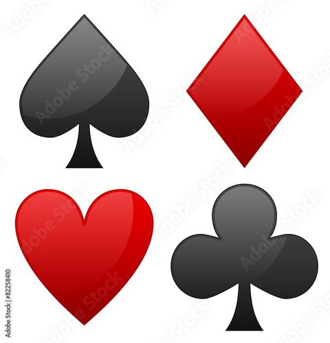 """Card suit symbols. Spade, heart, diamond and club symbols ..."
