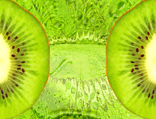 Food background with green kiwi slices.
