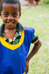 Smiley ethiopian boy during a party in a kindergarten