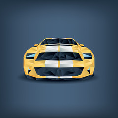 Low polygonal realistic sports car concept. Yellow with two