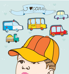 illustration with boy and toy cars