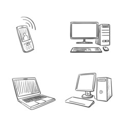 hand draw doodle computer laptop and phone