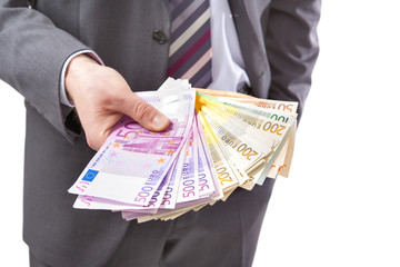 Businessman with money in hand