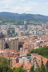 Aerial views of city center Bilbao, Bizkaia, Basque country, Spa