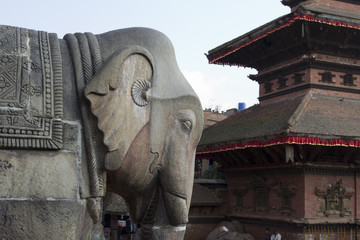 Elephant statue in the temple complex, Bhaktapur, Nepal