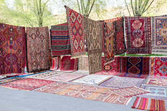 "Handmade carpets in the market ""Vernissage"", Armenia, Yerevan"
