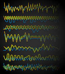 Equalizer (Eq) lines. Wavy, zigzag lines. Frequency, squiggle li