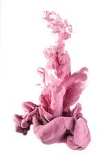ink color drop underwater. light pink.
