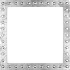 Blank scratched metal frame with rivets. 3d render