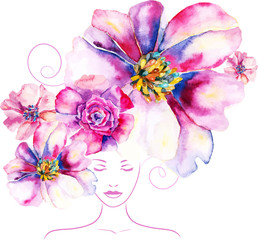girl with flowers and pattern in your hair