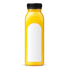 Long Tall Juice Or Jam Glass Yellow Orange Bottle