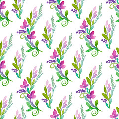 Seamless vector pattern with watercolor floral elements.