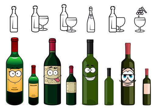 Cartoon characters of wine bottles in various design