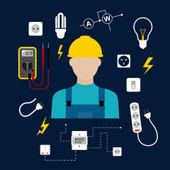 Professional electrician with electric tools and equipments