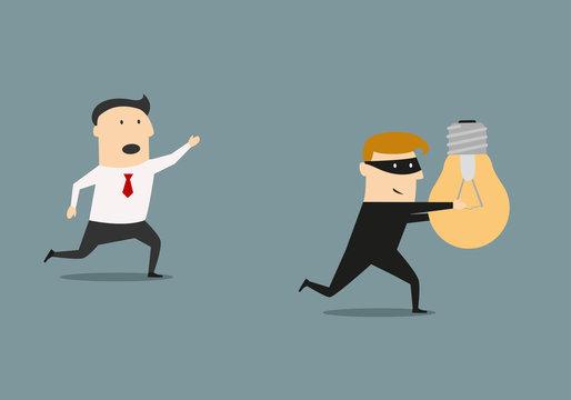A thief stealing idea from businessman