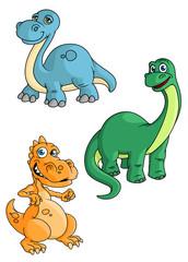 Foto auf Leinwand Kreaturen Cute cartoon green, blue and orange dinosaur mascots