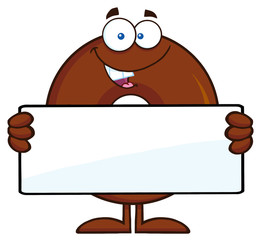 Chocolate Donut Cartoon Character Holding a Blank Sign