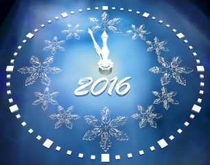 2015 Happy New Year background with ice clock.