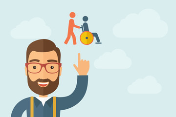 Man pointing the man pushing a friend in wheelchair icon