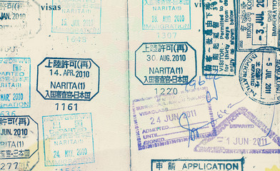 Close - up passport stamp in vintage style