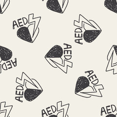 aed doodle seamless pattern background