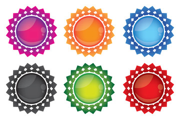 Decorative gemstone web button icon set