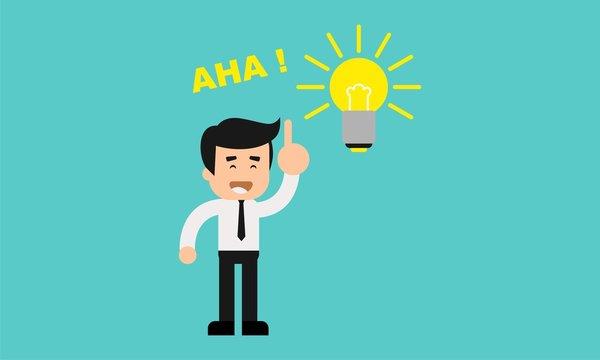 Businessman aha moment with bulb