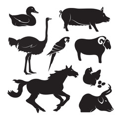 Vector farm animal set on white background