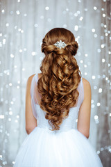 Beautiful Hair of Bride in Lights. Fashion Dress and Coiffure