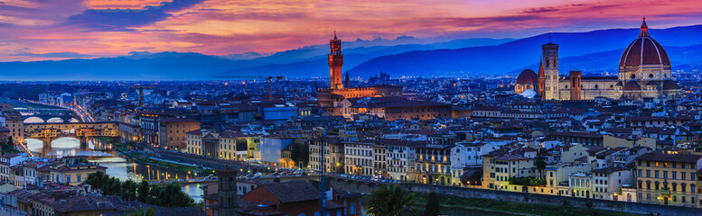 Photo sur Aluminium Florence Florence city at sunset