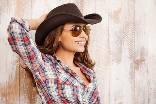 Smiling cowgirl.