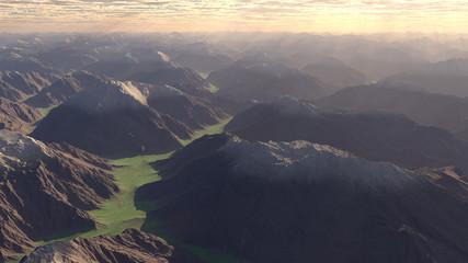 Simple mountainous landscape at sunset, 3D render.