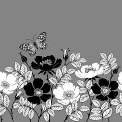 seamless floral border with dogroses and butterfly