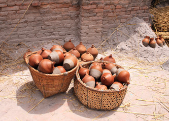 Traditional nepalese pottery in basket