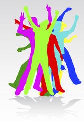 dancing man silhouettes