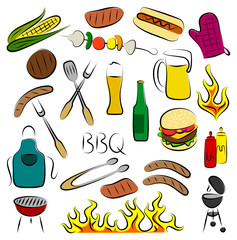 Colored Set of Abstract BBQ Items