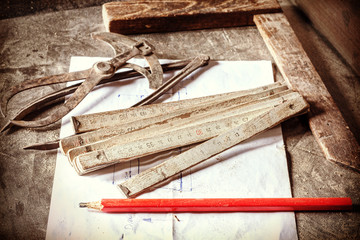 Retro style photo of old carpentry tools.