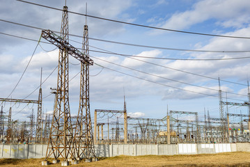 electricity pylons and power plant