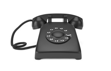 Black rotary phone isolated on white