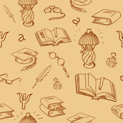 Books library seamless pattern. Reading background -- hand drawn