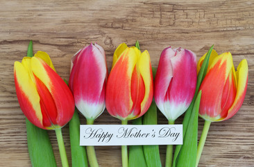 Happy Mother's day card with colorful tulips