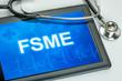 Tablet mit der Diagnose FSME auf dem Display