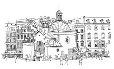 The town square in Krakow. Poland. Black & white vector sketch - fototapety na wymiar