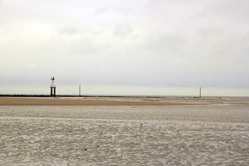 La plage  de Trouville (Normandie  France), à marée basse