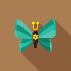 steampunk butterfly - flat icon with long shadow