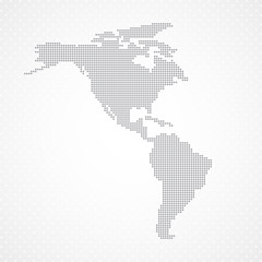 Dots Grey  North and South America map background vector