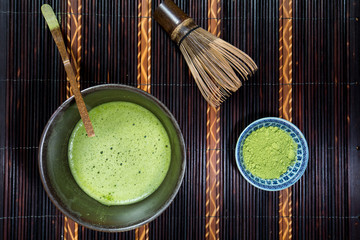 Bowl of Matcha with a Chasen