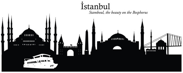 Vector illustration of skyline of Istanbul, Turkey