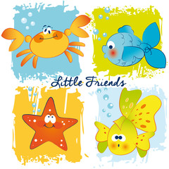 Vector Funny Fishes,Crab and Starfish Card