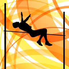 Man high jumping abstract vector background concept, track and f